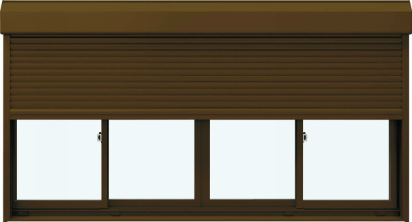 YKKAP窓サッシ 引き違い窓 フレミングJ[単板ガラス] 4枚建[シャッター付] スチール[半外付型]:[幅2600mm×高1170mm]