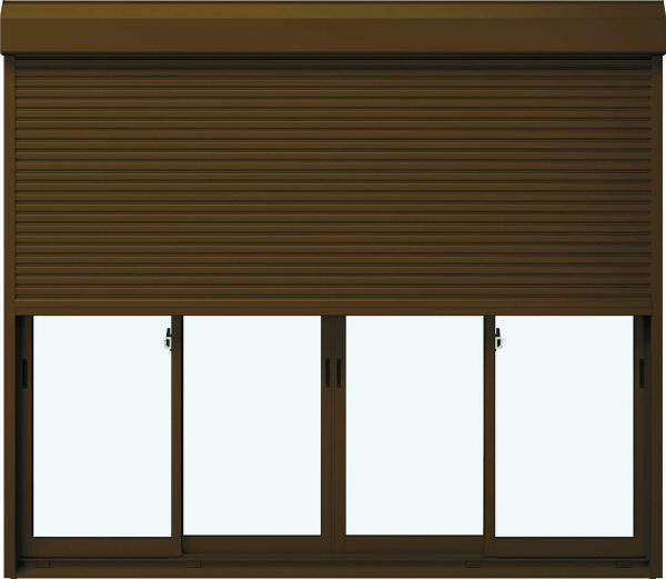 YKKAP窓サッシ 引き違い窓 フレミングJ[単板ガラス] 4枚建[シャッター付] スチール[半外付型]:[幅2550mm×高1830mm]