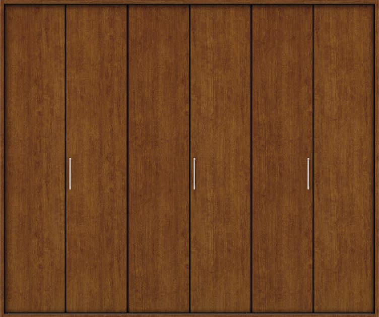 YKKAP収納 クローゼットドア 3枚折戸 木目たてTA ノンケーシング枠[四方枠]:[幅2553mm×高2345mm]