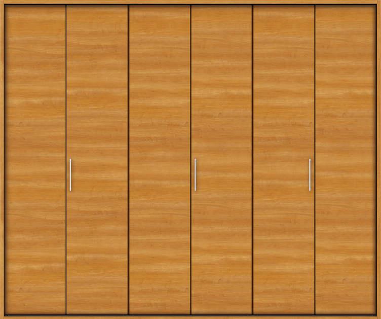 YKKAP収納 クローゼットドア 3枚折戸 木目横YA ノンケーシング枠[四方枠]:[幅2715mm×高2345mm]