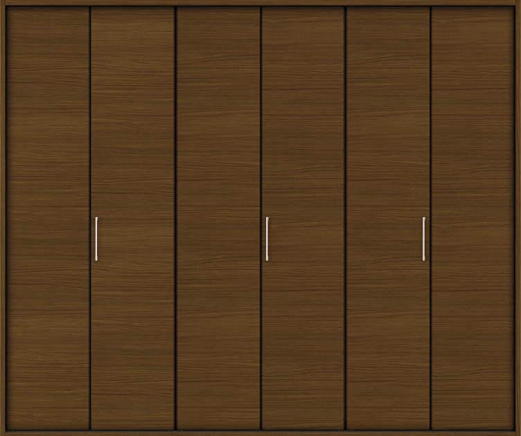 YKKAP収納 クローゼットドア 3枚折戸 木目横YA ケーシング枠[四方枠]:[幅2445mm×高2345mm]