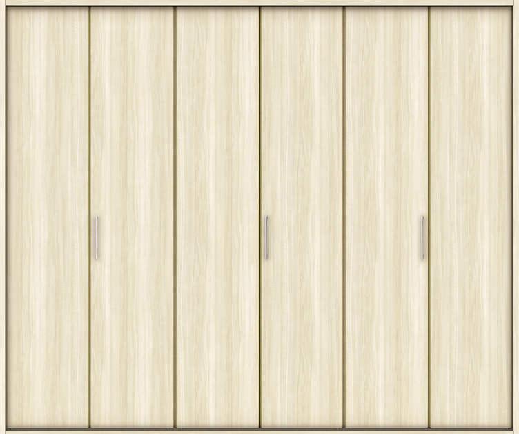 YKKAP収納 クローゼットドア 3枚折戸 木目たてTA ノンケーシング枠[三方枠]:[幅2553mm×高2333mm]