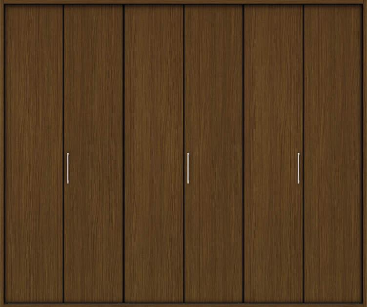 YKKAP収納 クローゼットドア 3枚折戸 木目たてTA ケーシング[三方枠]:[幅2445mm×高2333mm]