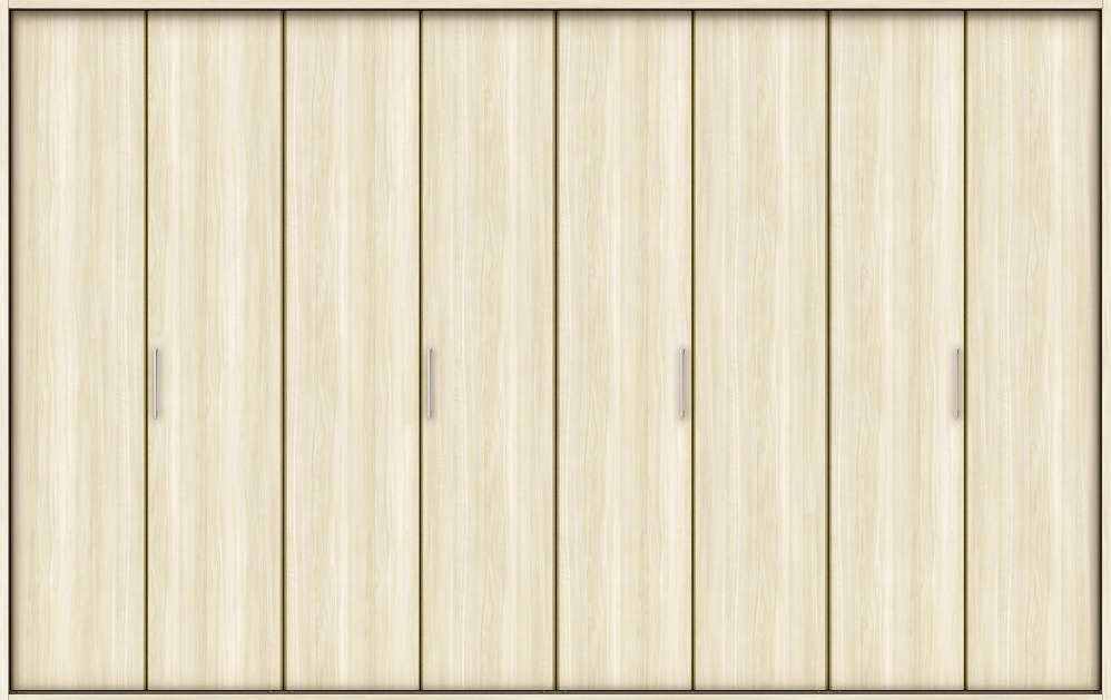 YKKAP収納 クローゼットドア 4枚折戸 木目たてTA ノンケーシング枠[四方枠]:[幅3246mm×高2045mm]