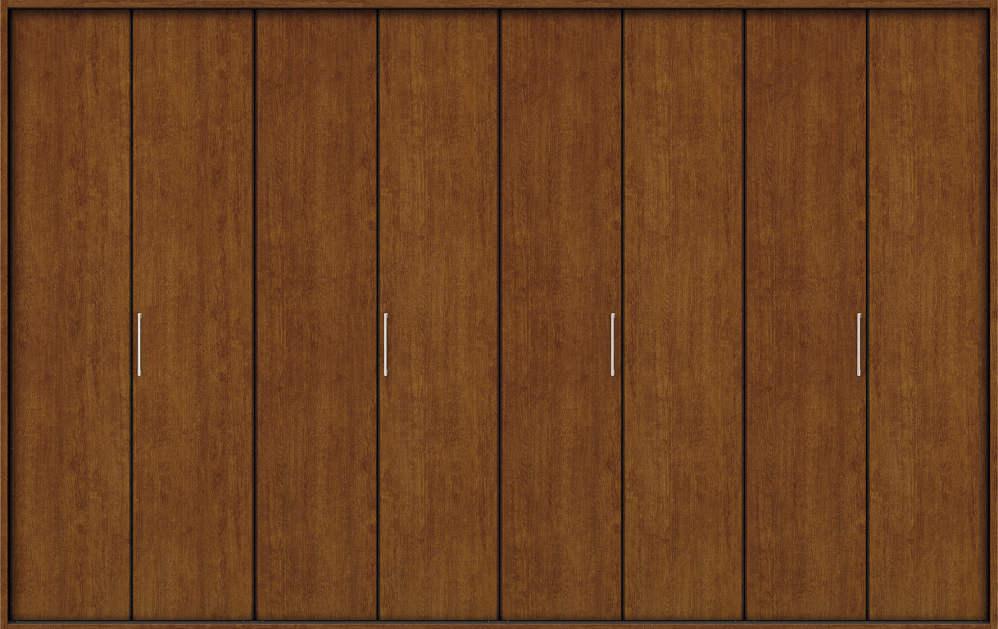 YKKAP収納 クローゼットドア 4枚折戸 木目たてTA ノンケーシング枠[三方枠]:[幅3246mm×高2333mm]