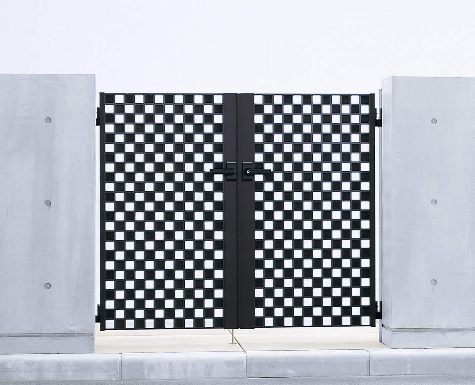 YKKAPガーデンエクステリア 門扉 シャローネ SC02型 両開き[門柱セット]:[幅1600mm×高996mm]