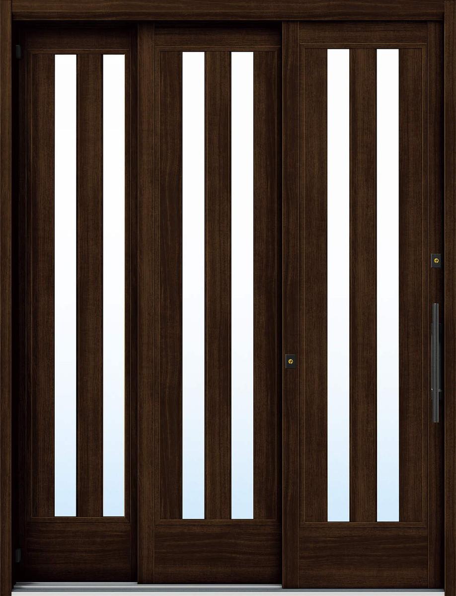早割クーポン! YKKAP玄関 Y01[木目柄]:複層ガラス[幅1640mm×高2230mm]:ノース&ウエスト 6尺袖付2枚建[標準内外バーハンド仕様] れん樹[大開口引戸] 断熱玄関引戸-木材・建築資材・設備