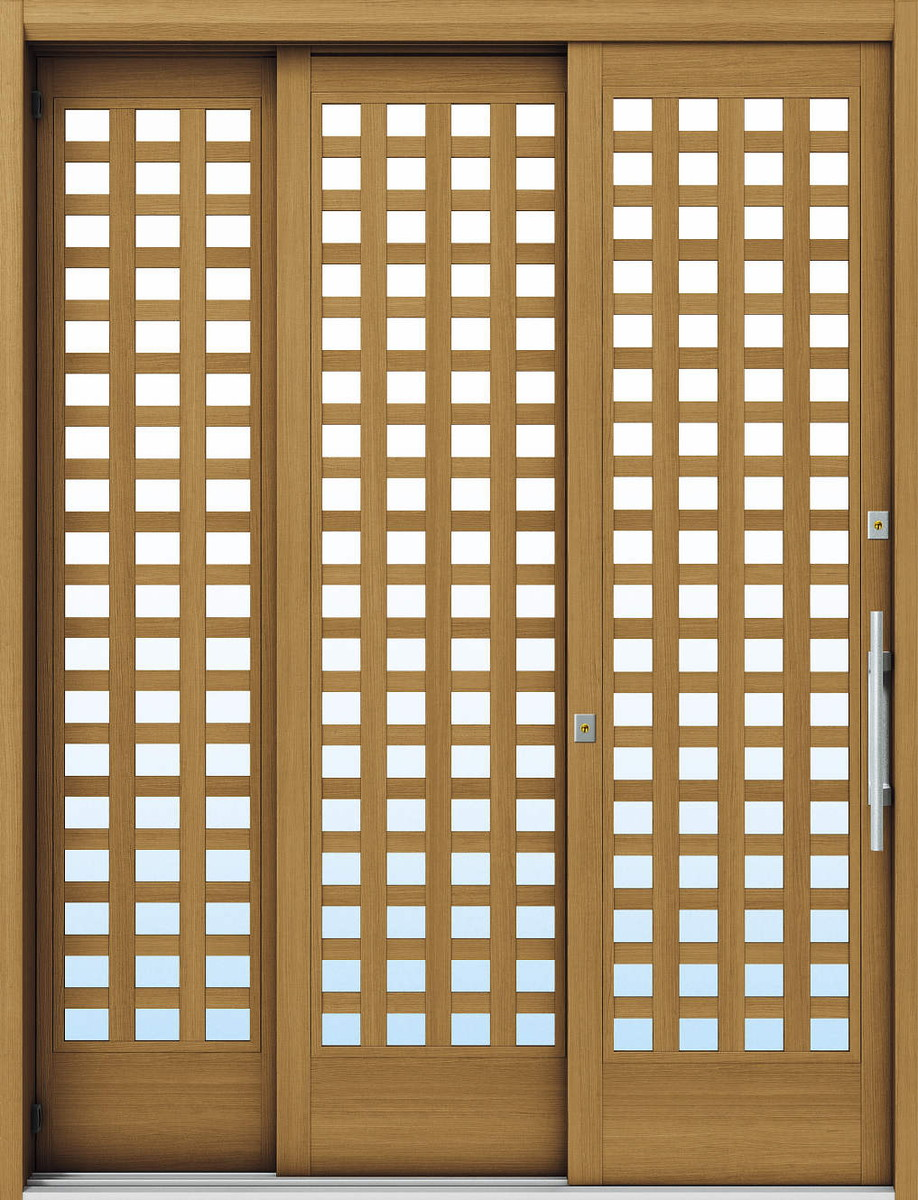 YKKAP玄関 断熱玄関引戸 れん樹[大開口引戸] 6尺袖付2枚建[標準内外バーハンド仕様] Y03[木目柄]:複層ガラス[幅1870mm×高2230mm]