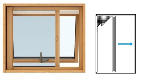 YKKAPオプション 窓サッシ 装飾窓 エピソードNEO:横引きロールクリアネット網戸[すべり出し窓用]