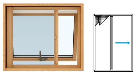 [すべり出し窓用] 窓サッシ 装飾窓 エピソードNEO:横引きロール網戸 YKKAPオプション