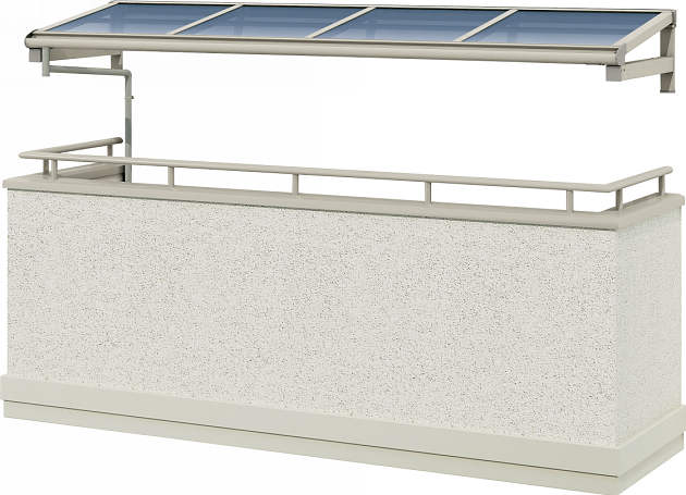 YKKAPウォールエクステリア テラス屋根 持ち出し屋根ヴェクター 1500N/[フラット型][関東間] 三尺[奥行:870mm][張り出しなし]:単体タイプ[幅910mm]