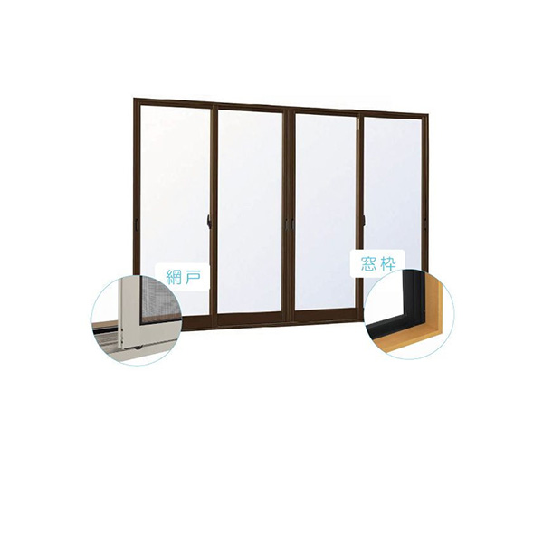 YKKAP窓サッシ 引き違い窓 エピソードNEO[複層ガラス] 4枚建 半外付型[サッシ+網戸+窓枠セット品]:[幅2370mm×高2030mm]