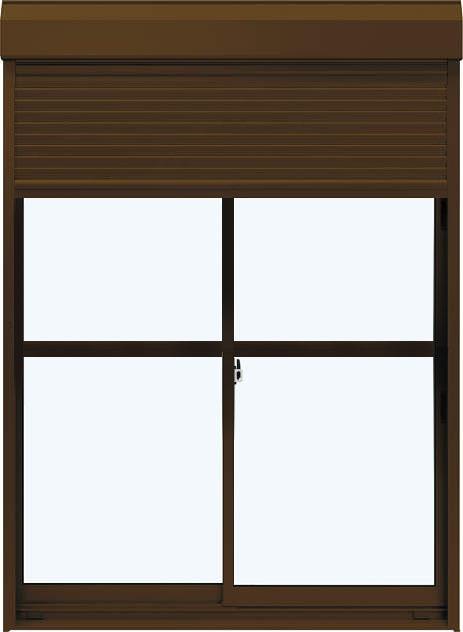 YKKAP窓サッシ 引き違い窓 エピソードNEO[複層ガラス] 2枚建[シャッター付] スチール耐風[半外][中桟付]:[幅1820mm×高2030mm]