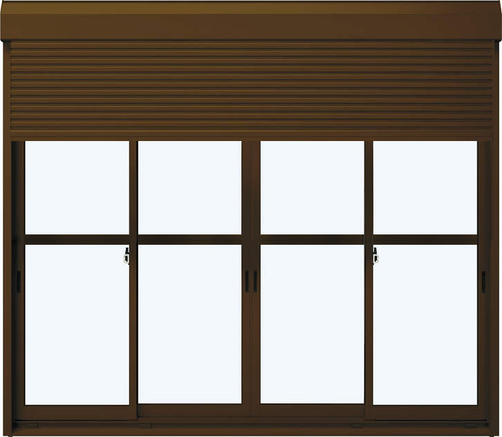 YKKAP窓サッシ 引き違い窓 エピソードNEO[複層ガラス] 4枚建[シャッター付] スチール耐風[半外][中桟付]:[幅2600mm×高2230mm]