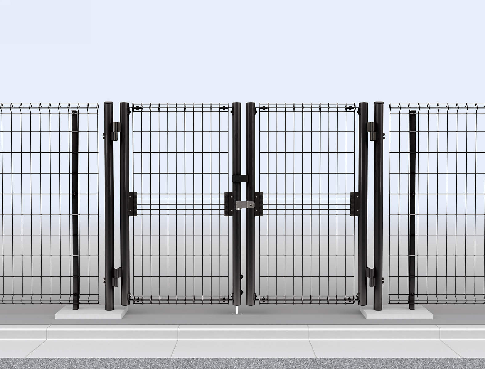YKKAPガーデンエクステリア 門扉 イーネット 1型 両開き[門柱セット]:[幅1600mm×高1200mm]【YKK】【YKK門扉】【スチール門扉】【庭まわり】【出入口】【DIY】【間仕切り】【駐車場】