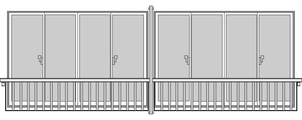 YKKAP窓まわり 窓手すり 手すりI型 セット品 ポール連結用:Tタイプ(引違い窓用:出幅156)[幅3831mm×高500mm]