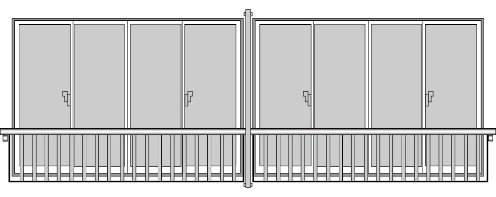 YKKAP窓まわり 窓手すり 手すりI型 セット品 ポール連結用:3Tタイプ(引違い窓用:出幅236)[幅3831mm×高500mm]