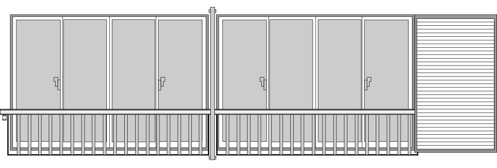 YKKAP窓まわり 窓手すり 手すりI型 セット品 鏡板付連窓戸袋用5枚建~8枚建用:Tタイプ(雨戸付引違い窓用 雨戸5~8枚用)[幅7199mm×高500mm]