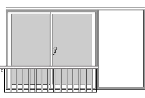 YKKAP窓まわり 窓手すり 手すりI型 セット品 鏡板無戸袋用:Tタイプ(雨戸付引違い窓用)[幅3871mm×高750mm]