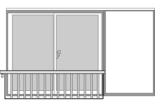 YKKAP窓まわり 窓手すり 手すりI型 セット品 鏡板無戸袋用:Tタイプ(雨戸付引違い窓用)[幅2673mm×高500mm]