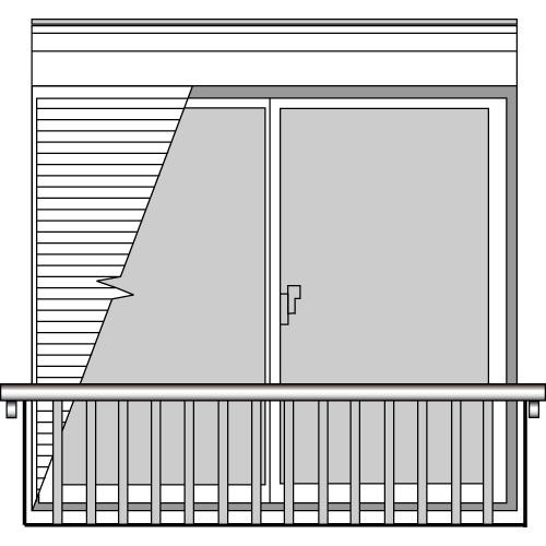 YKKAP窓まわり 窓手すり 手すりI型 セット品 シャッター付き引違い窓用:Tタイプ(出幅:156)[幅2985mm×高1220mm]