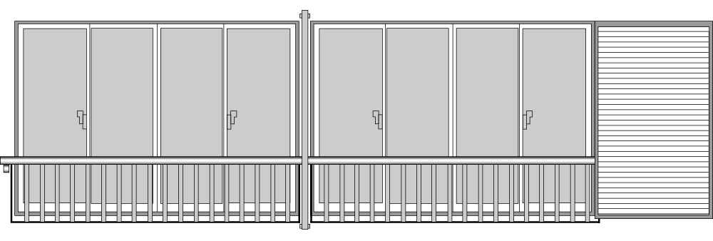 YKKAP窓まわり 窓手すり 手すりI型 セット品 鏡板付連窓戸袋用(3BT、7BT-2用):Tタイプ(雨戸付引違い窓用)[幅3831mm×高1220mm]