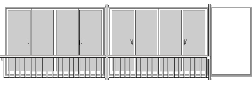 YKKAP窓まわり 窓手すり 手すりI型 セット品 鏡板無連窓戸袋用(外付用):Tタイプ(雨戸付引違い窓用)[幅4223mm×高750mm]