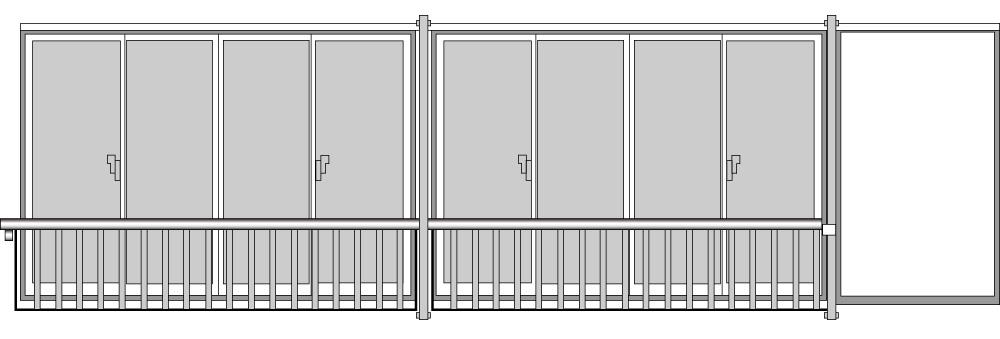 YKKAP窓まわり 窓手すり 手すりI型 セット品 鏡板無連窓戸袋用(外付用):Tタイプ(雨戸付引違い窓用)[幅3831mm×高1220mm]