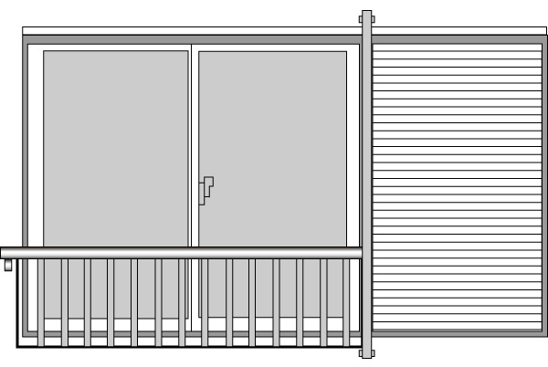 YKKAP窓まわり 窓手すり 手すりI型 セット品 妻板無(壁付用雨戸ポール):3Tタイプ(雨戸付引違い窓用)[幅3716mm×高900mm]