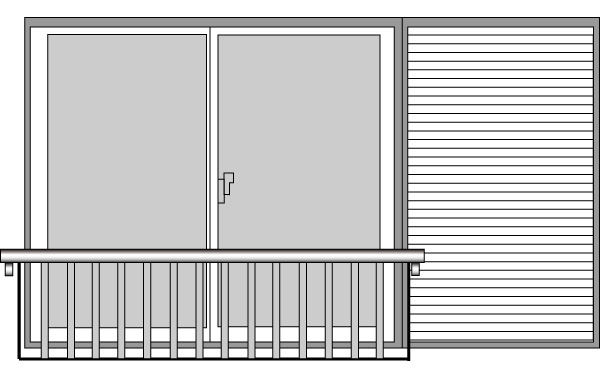 YKKAP窓まわり 窓手すり 手すりI型 セット品 壁付け・鏡板付戸袋用2枚建~4枚建:Tタイプ(雨戸付引違い窓用 雨戸3枚用)[幅2916mm×高750mm]