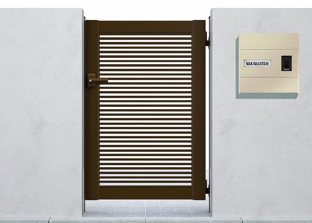 YKKAPガーデンエクステリア 門扉 シンプレオ 1型 片開き[門柱内開きセット]:[幅600mm×高1000mm]