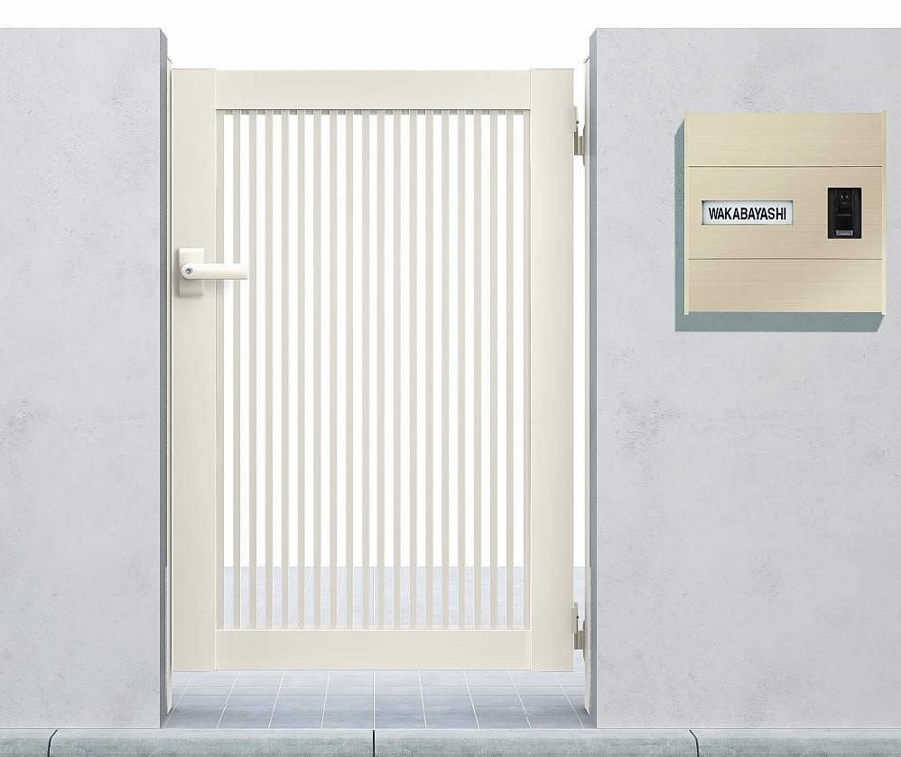 YKKAPガーデンエクステリア 門扉 シンプレオ 2型 片開き[門柱内開きセット]:[幅400mm×高1000mm]