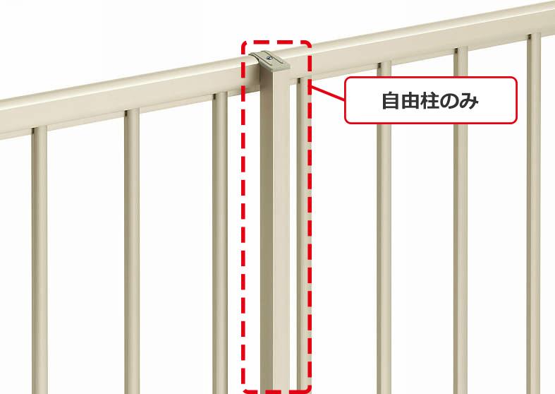 YKKAPオプション ガーデンエクステリア フェンス シンプレオフェンス SY1型用:自由柱施工 34m/秒相当仕様 自由柱 T100[高1000mm]