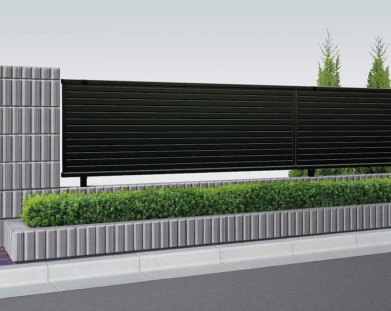 YKKAPガーデンエクステリア フェンス シンプレオ 5型:横目隠し フェンス本体:[幅1975mm×高1200mm]