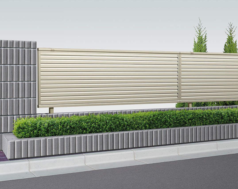 YKKAPガーデンエクステリア フェンス シンプレオ 13型:ルーバー フェンス本体:[幅1975mm×高1600mm]