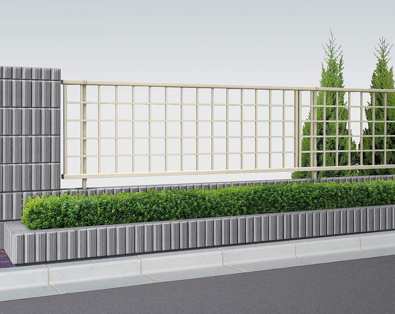 YKKAPガーデンエクステリア フェンス シンプレオ 11型:井桁(粗)格子 連結用セット品:[幅1975mm×高600mm]
