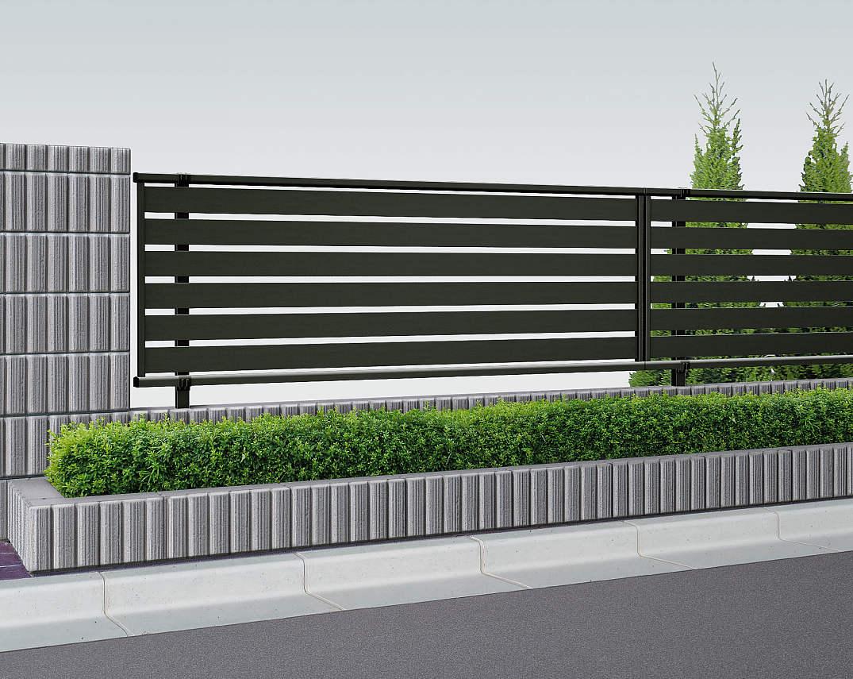 YKKAPガーデンエクステリア フェンス シンプレオ SY1型:横半目隠し 連結用セット品:[幅1975mm×高1000mm]