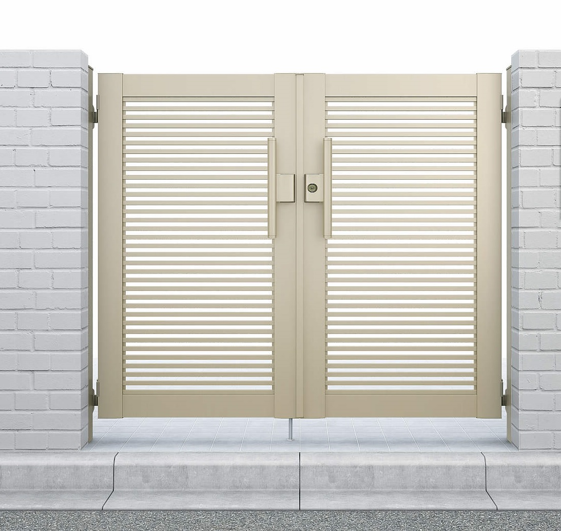 YKKAPガーデンエクステリア 門扉 シンプレオ 1型 両開き[門柱内開きセット]:[幅800mm×高1200mm]