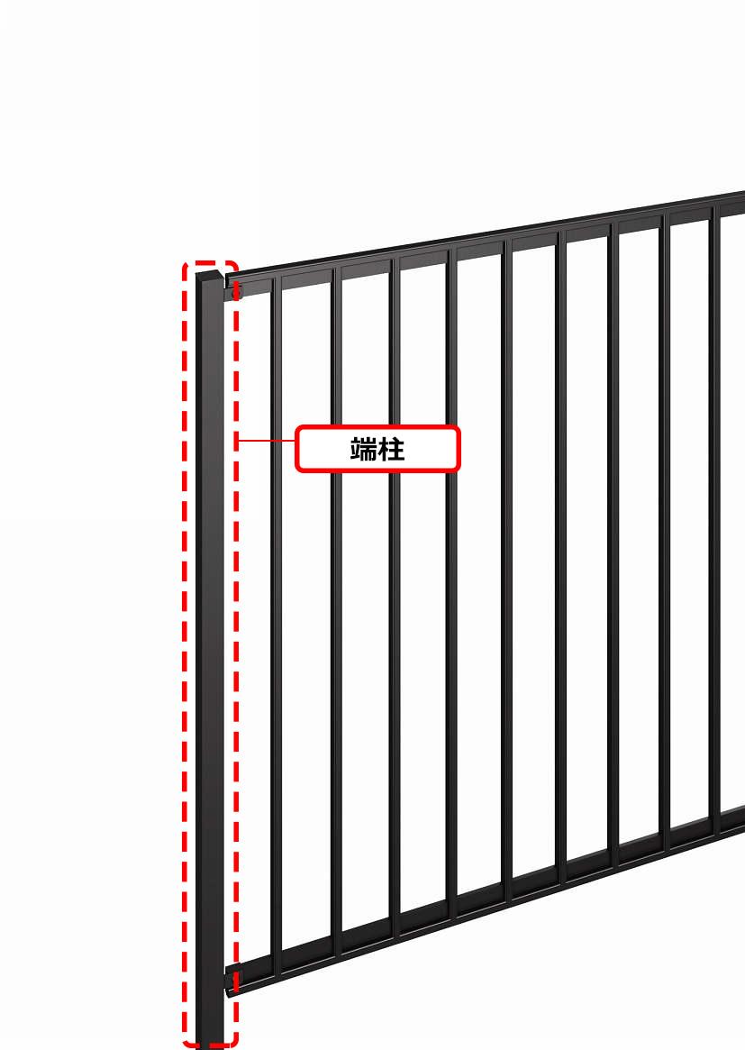 YKKAPオプション ガーデンエクステリア フェンス シャローネフェンス SM01型:間仕切柱 端柱[幅1200mm]