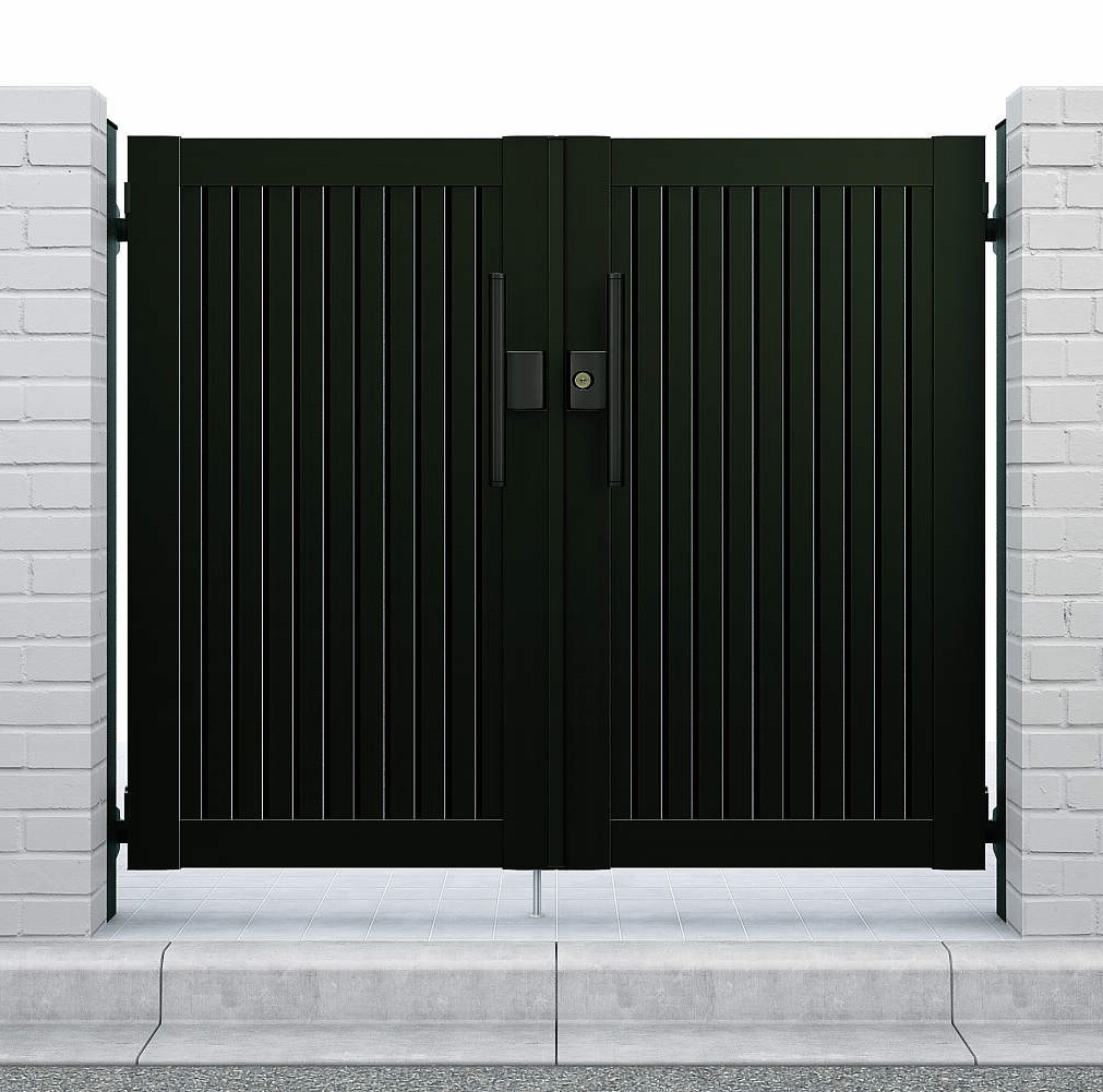 YKKAPガーデンエクステリア 門扉 シンプレオ 6型 両開き[門柱内開きセット]:[幅700mm×高1200mm]