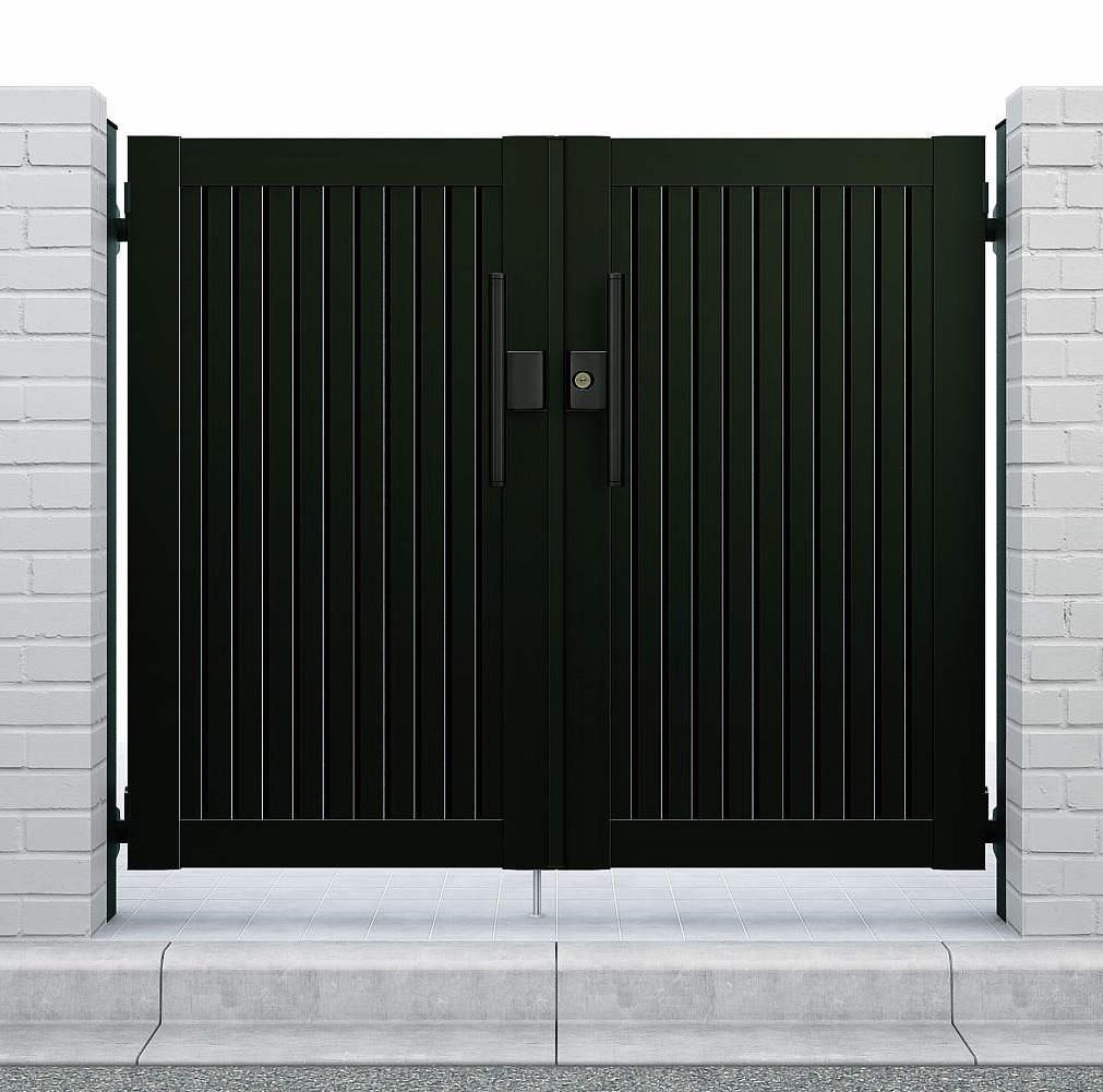 YKKAPガーデンエクステリア 門扉 シンプレオ 6型 両開き[門柱内開きセット]:[幅1000mm×高1400mm]