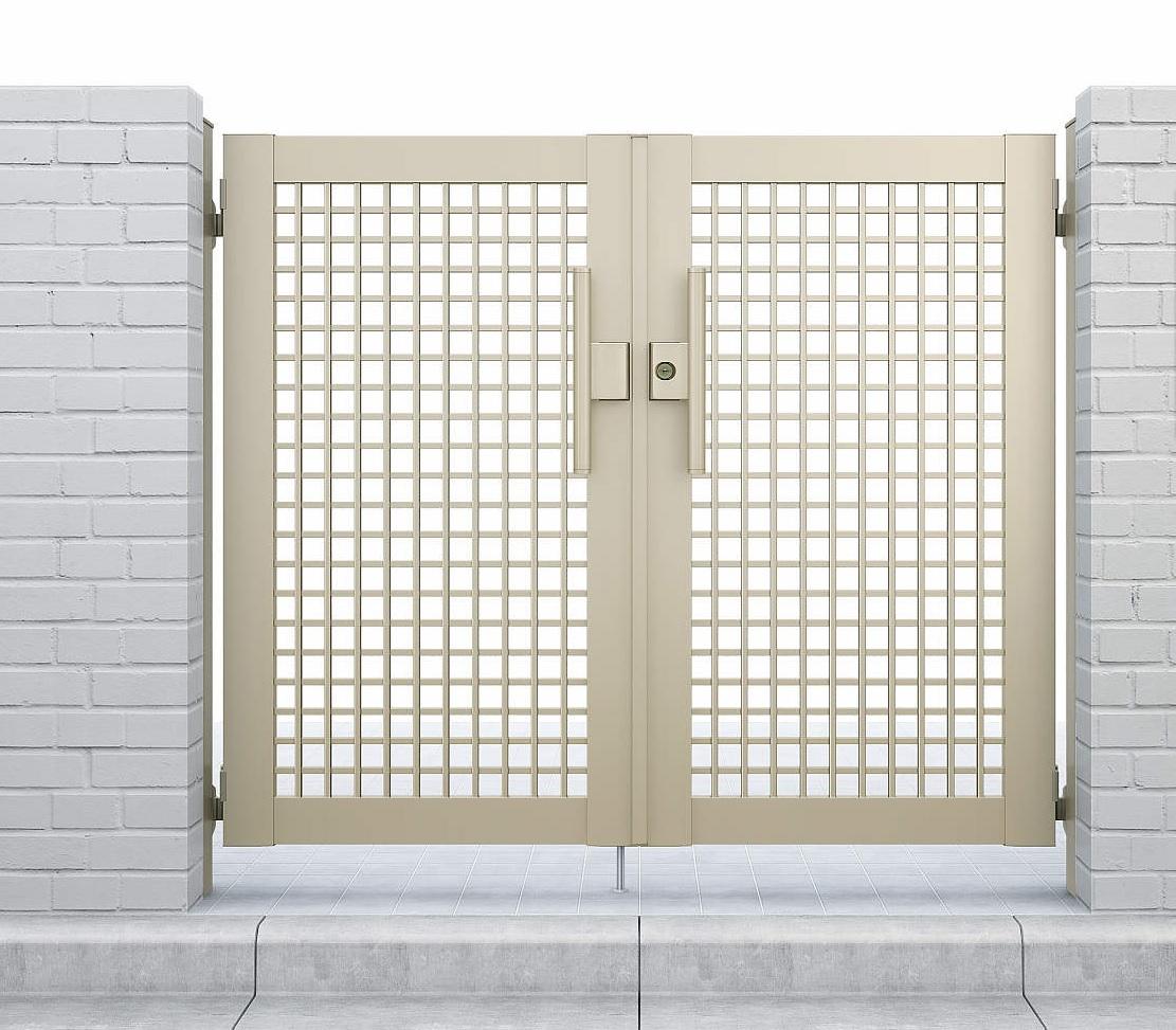 【数量限定】 YKKAPガーデンエクステリア シンプレオ 門扉 両開き[門柱内開きセット]:[幅800mm×高1000mm]:ノース&ウエスト 7型-木材・建築資材・設備