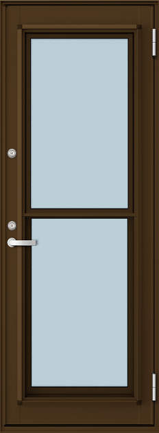YKKAP勝手口 通風ドア フレミングJ仕様 複層ガラス[2シリンダー仕様] 一本格子[2×4工法][単純段差下枠仕様]:[幅730mm×高1860mm]