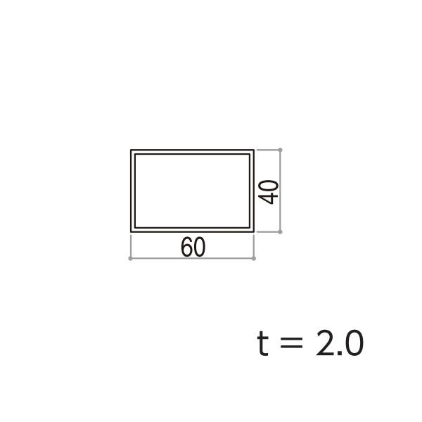 YKKAPガーデンエクステリア 汎用形材 その他ホロー材(キャップ無):□60×40 ホロー材 角材 長さ:5970(アルミ色)【YKK】【エクステリア】【外構】【間仕切り】【アルミ角材】