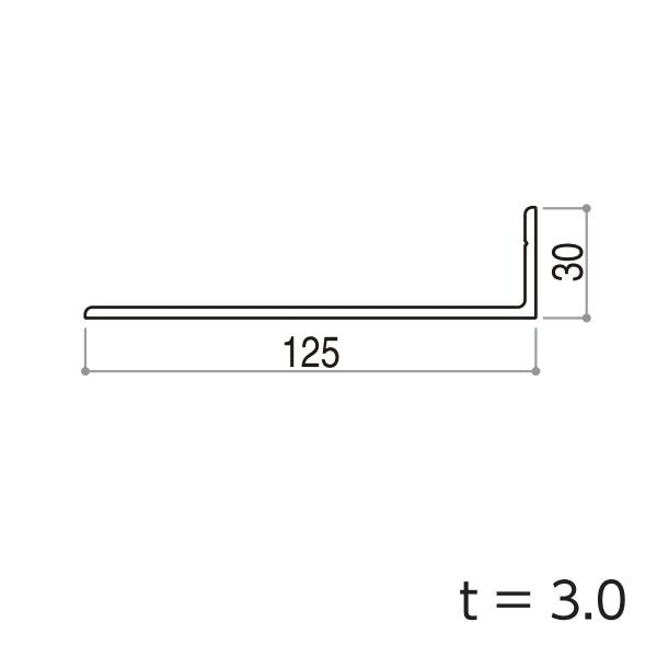 YKKAPガーデンエクステリア 汎用形材 アングル:外形寸法30×125 長さ:6000