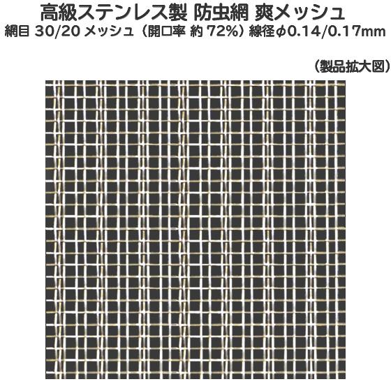 産業用金網 ステンレス防虫網 爽メッシュR:1320mm×15m