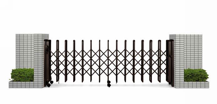 YKKAPガーデンエクステリア ゲート 伸縮ゲート レイオス1型 片開き:[幅3407mm×高1150mm]