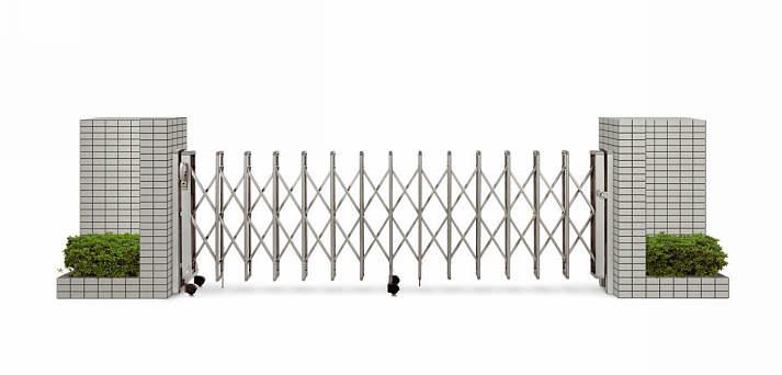 YKKAPガーデンエクステリア ゲート 伸縮ゲート レイオス4型 片開き:[幅3407mm×高1150mm]