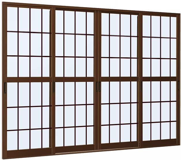 YKKAP店舗 店舗引戸STH-3・3TH 4枚建 ランマ無[格子付ガラス]:[幅2745mm×高1817mm]