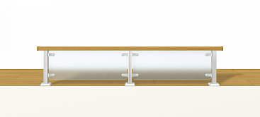 YKKAPアルミインテリア レイスルー手すり ロフト手すり 床支持タイプ ドットポイント:[幅3001~4000mm×高250~449mm] YKK 室内インテリア サッシ ア